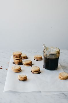 stroopwafel sandwich cookies with orange whiskey and maple caramel
