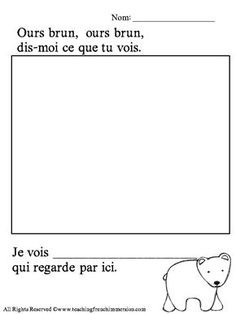 """FREE printable from www.teachingfrenchimmersion.com! Great for use with Eric Carle's """"Ours brun, dis-moi . . ."""""""