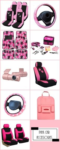 PINK Up Your Car With Accessories Seat Covers Steering Wheel