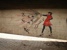 street art cairo women | Woman in Red Dress, Graffiti on Mahmoud Street, Cairo, 2012
