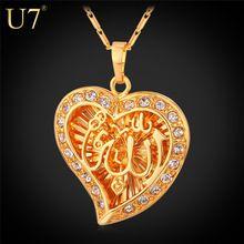 Classique Allah pendentif collier gros platine / 18 K réel plaqué or cristal coeur bijoux arabe musulmane 2015 New P558(China (Mainland))