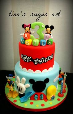 Definitely not going this elaborate. This one is for figure reference only Bolo Do Mickey Mouse, Mickey And Minnie Cake, Fiesta Mickey Mouse, Bolo Minnie, Mickey Mouse Clubhouse Birthday Party, Mickey Cakes, Minnie Mouse Cake, Mickey Mouse Parties, Mickey Birthday