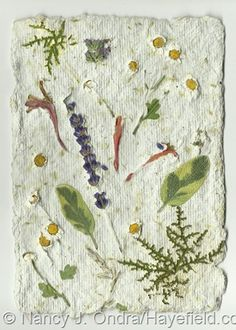 Handmade Paper with Embedded Flowers and Leaves