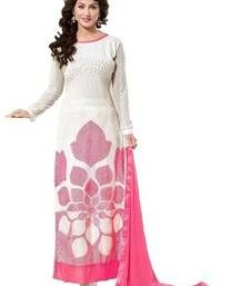 Buy White  georgette embroidered unstitched salwar with dupatta dress-material online