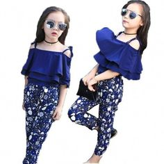 Off Shoulder Frill Top + Floral Pants Cute Outfits For Girls – Kids Fashion Girls Summer Outfits, Cute Girl Outfits, Cute Outfits For Kids, Suit Fashion, Kids Fashion, Fashion Outfits, Fashion Top, Fashion Clothes, Fashion Ideas