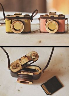 Wooden/Leather camera necklace where you can store your SD card!