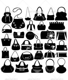 Female Purse Set Female purse set isolated on white Created: 5 December 13 Graphics Files Included: Vector EPS Layered: No Minimum Adobe CS Version: Tags accessories Crochet Round, Bead Crochet, Bag Illustration, Bags For Teens, Pamela, Fashion Bags, Women's Fashion, Silhouette, Cute Purses