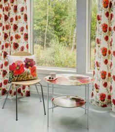 Röd vallmor - Brickbord & textil  Marita Flodin Design
