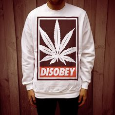Disobey Weed design on men's white Jumper by DISOBEY, exclusive to Uncle Reco Retro Clothing.