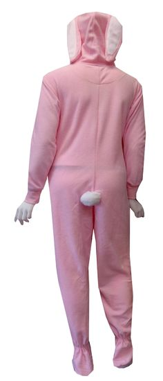 Pink Bunny Hooded Onesie Footie Pajama Just for the fun of it!! These pink footed pajamas for women are designed to look just like a bunny, complete with floppy ears on the hood and a fluffy white cotton tail on a soft micro polar fleece. These one piece footie pajamas have pink ribbed cuffs at the wrist and have gripper bottoms. Machine washable and easy care. Junior cut.
