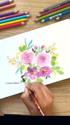 Watercolor Flowers Tutorial, Flower Tutorial, Floral Watercolor, Watercolours, Watercolor Paintings, Canvas Painting Projects, Watercolor Techniques, Small Flowers, Flower Cards