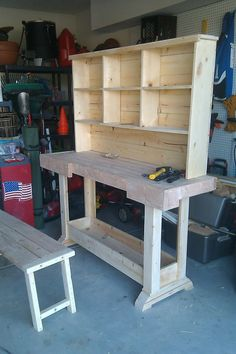 Markham Workbench Console and Rustic Hutch