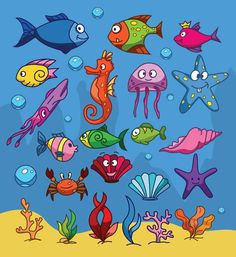 22 Cartoon sea creatures design vector graphics