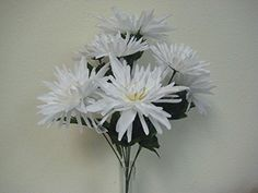 2 Bushes WHITE Fuji Mum Artificial Silk Flowers 18 Bouquet 76071WT ** Click on the image for additional details.