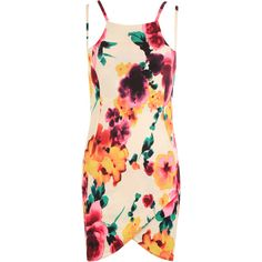 Shiny Floral Strappy Mini Dress (29 CAD) ❤ liked on Polyvore featuring dresses, cream, pink floral dress, neon dress, floral print summer dresses, short dresses and floral dress