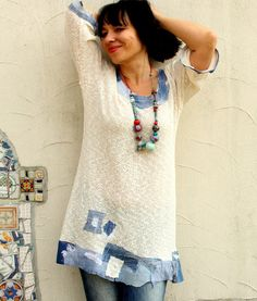 L-XL Summer sweater denim jeans appliqued recycled by jamfashion