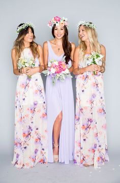 Show Me Your Mumu lilac printed boho bridesmaid dresses / http://www.deerpearlflowers.com/40-chic-bohemian-bridesmaid-dresses-ideas/2/