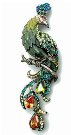 Crystal & Enamel Peacock Brooch made with Swarovski Crystals / Acosta Jewellery