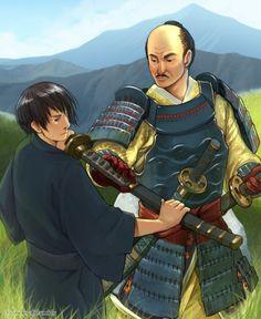 Kiku with Oda Nobunaga - Coloured version of http://www.pinterest.com/pin/398076054535178958/ - Art by ctcsherry.tumblr.com