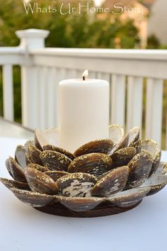 Easy Summer decor - DIY clam shell candle holder #nautical #summerdecorating