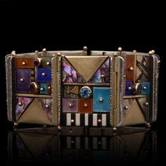 "Selma's Velvet Castle on Instagram: ""A Modernist bracelet by Earl Pardon set with a wonderful mosaic-like assortment of brightly coloured enamel tiles, round gemstones in bezel…"" Luxury Jewelry, Bright Colors, Tiles, Mosaic, Vintage Jewelry, Castle, Enamel, Velvet, Photo And Video"