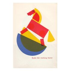 Rodo the Rocking Horse illustration, from the children's book Round and Round and Square, United Kingdom, 1965 (reissued in 1968), by Fredun Shapur. #kemistrygallery #graphicart #screenprint #prints #posters #design #graphics #graphic #graphicdesign