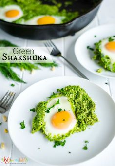 Perfectly cooked eggs nestled in a creamy magic green sauce made up of herbs and spices. Green Shakshuka is a hearty healthy meal anytime of the day!   Breakfast   Dinner   Egg recipe   Healthy