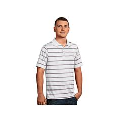 Men's Antigua Striped Performance Golf Polo, Size: Small, White Oth