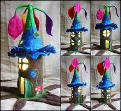 felted fairy lamp, tree lamp, bedside lamp, night light, handmade, wool, felt, fairy light, Waldorf inspired