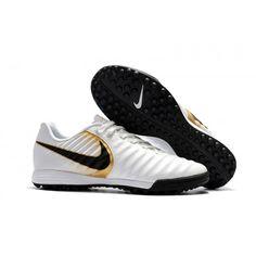 best service da9fc 2f40f Acheter Crampon Foot Nike Tiempo Ligera IV TF Homme Blanche Or Noir.  Chaussures Foot Nike