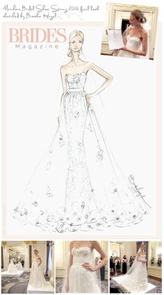 Brooke Hagel Live-Sketching Bridal Fashion Week for Brides Magazine. Shown here, Marchesa Spring 2016.