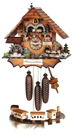 Awesome Cuckoo Clock Black Forest house with Moving Wheel, Moving Chimney Sweep and 2 Moving Trains By Hubert Herr