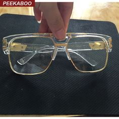 6c267bd190 Aliexpress.com   Buy Peekaboo New fashion oversized gold clear frame glasses  square high quality designer brand frames for eyeglasses male female big  from ...