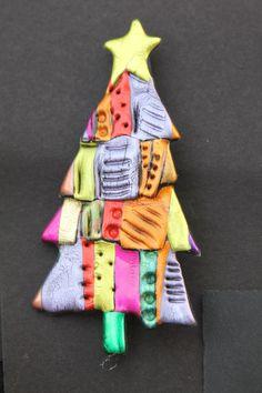 Just Plain Jane Whimsical Christmas Tree Pin by JustPlainJane, $8.00