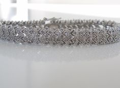 "Heavy Estate Sterling Silver 925 Genuine 2tcw Diamond Thick Tennis Bracelet 7.5"" #Designer #Tennis"