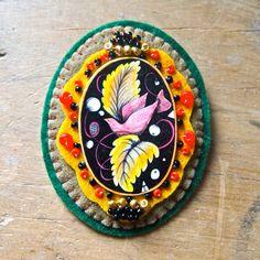 Shrink art felt and bead brooch