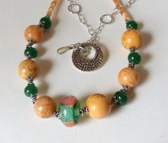 Rounds of Jasper Necklace with Lampwork Beads by Smokeylady54