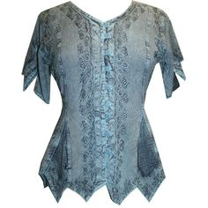Agan Traders 136 B Gypsy Medieval Netted Assymetrical Vintage Top... ($30) ❤ liked on Polyvore featuring tops, blouses, gypsy blouse, vintage tops, gypsy top, net blouse and blue top