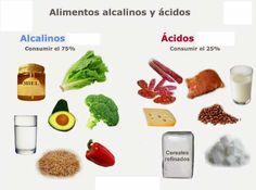 Alimentos Acidos y Alcalinos -  Los alimentos productores de ácidos suelen ser las fuentes de proteínas (carne, pescado, huevo, marisco, huevo, lácteos), féculas (cereales refinados), azúcares (miel, pasteles, helados), legumbres (excepto los cacahuetes y las nueces), también el café, el té y el cacao. Por el contrario son alim...