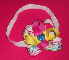 Colorful Baby Girl Coach Hair Bow Headband Baby by ItsyBitsyBeauty