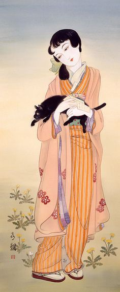 "Kisho Tsukuda.   I love the cat on this one, the cat's pose and expression. I'm going to use this for ""look"" for my Lenten meditation today, Thurs."