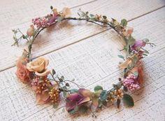 ナチュラルアンティーク・ローズとツタの花冠&リストレット2点SET - 大人可愛い花冠 ブライダル・ウェディング 【アルモニ】
