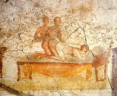 Erotic Pompeian wall painting, from one of the Therms (baths), the south wall of the changing rooms - painted around 79 BC.