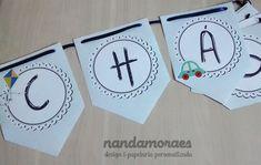 Bandeirolas no tema Brinquedos para festa infantil de menino ou para chá de bebê.