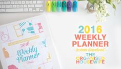 The 2016 Weekly Planner Printable gives you a glance at a week to help you your schedule, tasks, meal plan and more. Binder Organization, Organizing, Organised Housewife, Weekly Planner Printable, College Hacks, Filofax, Budgeting, Calendar, Printables