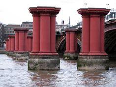 Pillars of the old Blackfriars Railway Bridge, London