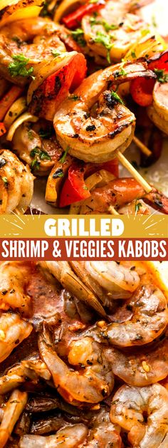 Grilled shrimp kabobs made with juicy shrimp, a flavorful tomato sauce marinade, and fresh vegetables. You'll love these delicious shrimp skewers! Grilled Shrimp Kabobs, Marinated Shrimp, Grilled Shrimp Recipes, Shrimp Skewers, Grilling Recipes, Fish Recipes, Seafood Recipes, Smoker Recipes, Camping Recipes