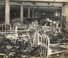 Inside Destroyed Soldiers Barracks, Hickam Field, Hawaii 1941. After surprise Japanese attack Dec 7th....