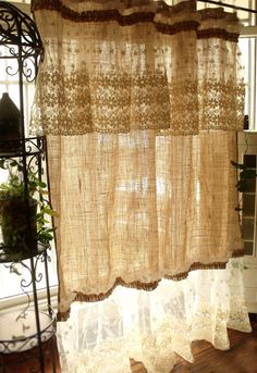 ❤❤❤ PLEASE specify EXACT LENGTH wanted during CHECKOUT ❤❤❤ Simply shabby, beach,cottage chic,French country theme to one shower curtain. Its made of Natural tan Burlap with white cotton linen lace ruffles and jute and vintage style buttons! **This burlap fabric has been *pre-washed and special treated before made into this shower curtain.Its almost no the bad smell and not such stiff.Very soft and smooth.So shabby chic! Love love... it!:) This shower curtain pix show measure approx: 72 ...