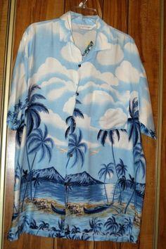 NWT Men's Uluwatu Rayon Hawaiian Shirt Size Medium Volcano & Palm Trees Blue